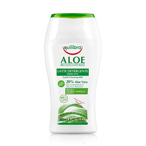 Balanzas para la cara, leche limpiadora de aloe, leche limpiadora para la cara delicada a base de aloe vera, apta para pieles sensibles, limpieza, hidratación, suavizantes y balanzas ...