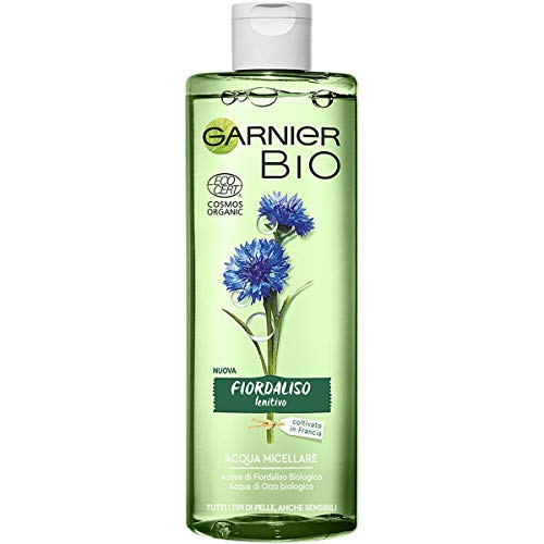 Agua micelar de maíz Garnier Bio, fórmula enriquecida con agua orgánica de cebada y glicerina vegetal, 400 ml