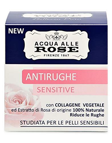 Agua de rosas, crema facial anti arrugas sensible con colágeno vegetal, crema antiarrugas, suave para la piel, piel sensible, 50 ml