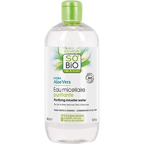 Sonido 'Bio ético, agua micelar purificante para pieles mixtas y grasas, hidratante, con aloe vera, orgánica, 500 ml