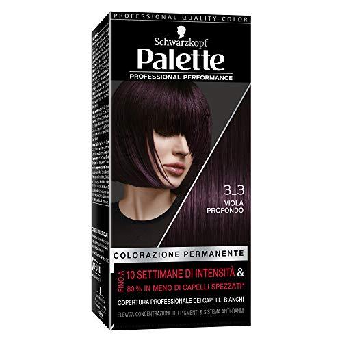 Rendimiento profesional de la paleta Schwarzkopf, color permanente del cabello, tinte de pelo, cobertura del cabello blanco, 3 a 3 tonos de púrpura profundo