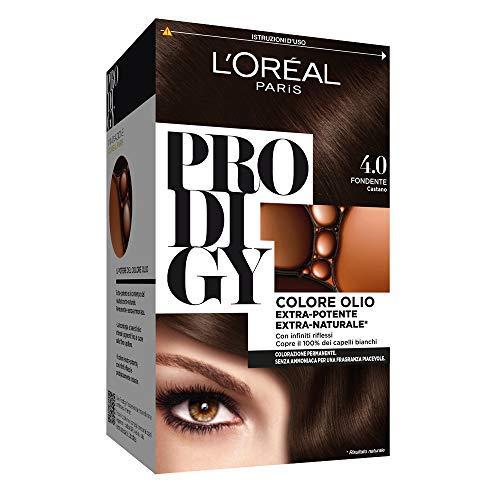 Tinte de cabello L'Oréal Paris Prodigy, cobertura total del cabello blanco, 4.0 marrón oscuro