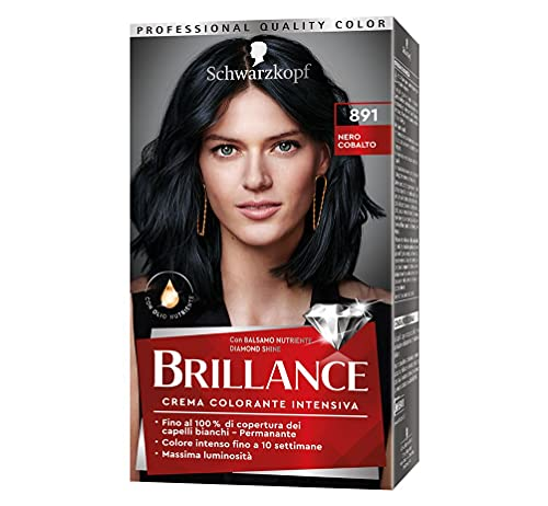 Colección Schwarzkopf Brillance Couture, color de pelo permanente, tinte de pelo blanco, sombra 891 cobalto negro