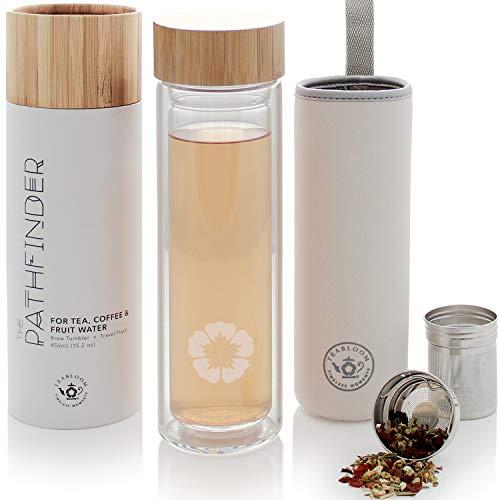 Botella térmica polivalente Teabloom - 0,45 L - Bambú natural y vidrio templado - Término de viaje - Botella para infusiones de té, café y fruta ...