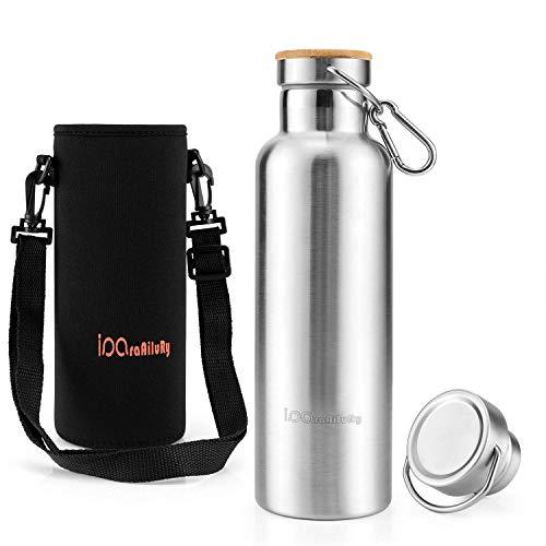 iParaAiluRy Botella térmica libre de BPA de botella térmica 500/600/750 / 1000ml - Botella de agua de acero inoxidable con aislamiento doble