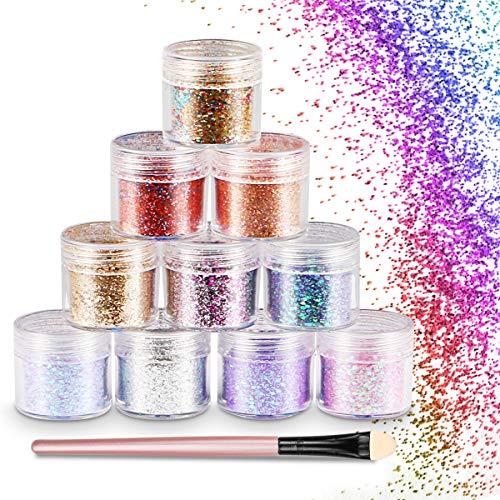 WOSTOO Glitter, Glitter Powder Siete Glitter Powder hexágonos Cosmetic Makeup Glitter Sequins Glitter brillante Decoración Cabello, cuerpo, mejillas y uñas ...