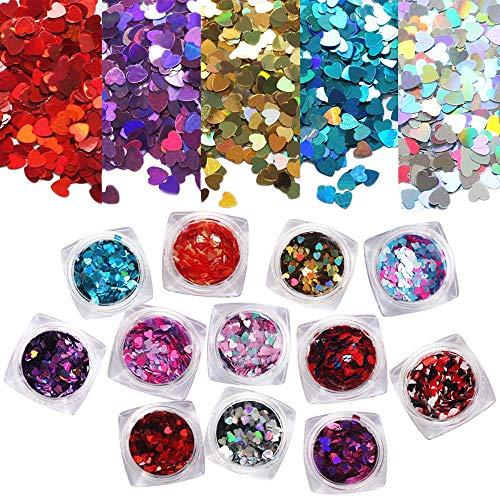 Ebanku 12 colores Glitter Nail Sequins Hearts Flocons, Holographic Chunky Glitter Confetti for Nail Art pour la decoración du uña, des Corps desde Cheveux