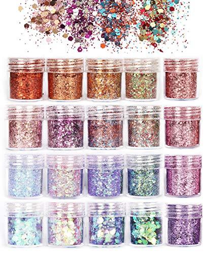 ANDERK Holographic Nail Glitter Powder Glitter Nail Glitter, 20 colores Chunky Glitter Body Uñas, formas para decoraciones de arte de uñas Maquillaje facial ...