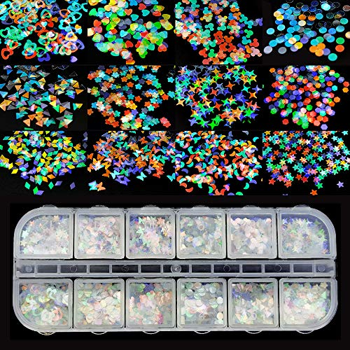 Ealicere 12 cajas Uñas holográficas Glitter Uñas Glitter Glitter Uñas Glitter Glitter Uñas adhesivos Decoraciones de bricolaje para el cuerpo de la cara ...