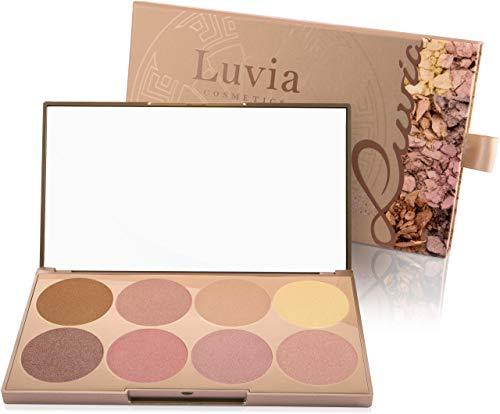 Luvia - Resaltador facial y corporal - Paleta de maquillaje resaltador Prime Glow - 8 colores con partículas brillantes extra finas para todo tipo de piel.  - Conjunto ...