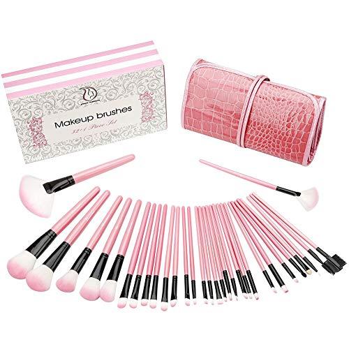 Cepillos para maquillaje Start Makers 32 piezas Cepillos cosméticos profesionales Cepillo para cimentación con funda de cuero Efecto de lujo y envases refinados ...