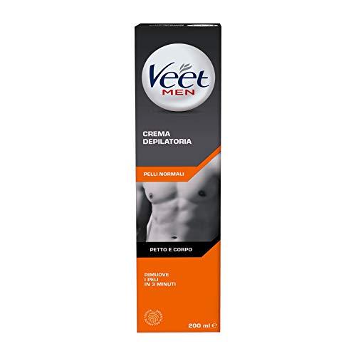 Veet Men, crema depilatoria para hombre, piel normal, 200 ml, el envase puede variar