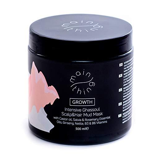Main Thing Purifying mask para el cabello y el cuero cabelludo, previene la caída del cabello, con ghassoul, aceite de ricino, aceites esenciales, vitaminas, extracto de ...