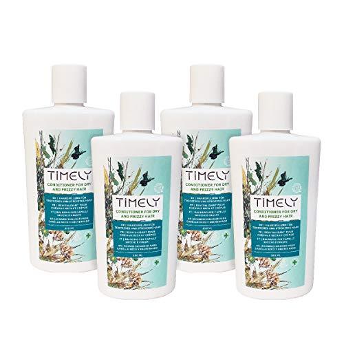 Acondicionador oportuno, hidratante y suavizante para cabellos secos y encrespados, paquete de 4 x 300 ml