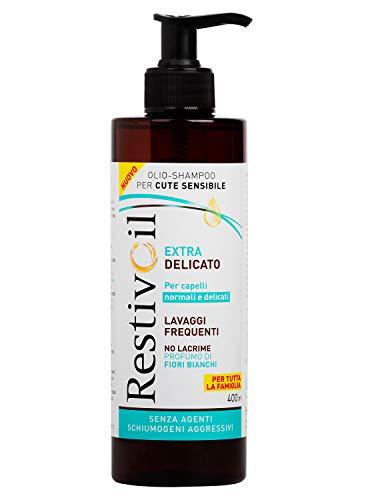 Champú hidratante extra delicado RestivOil para cabello normal a delicados, champú con aceite con aroma de flor blanca, recomendado para lavados frecuentes, 400 ml