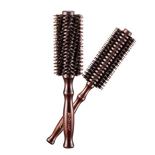 Par de pinceles redondos y curvos de cerdas de jabalí Kaiercat® (diámetro 2 pulgadas + 1,6 pulgadas) para cabellos largos y cortos