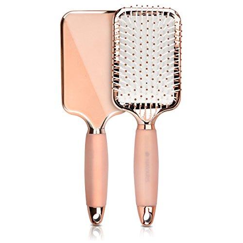 Cepillo de pelo plan Navarre - Cepillo de efecto suave para secar el liso de los cabellos cortos y largos - Cepillo de paleta con mango de hielo - Oro rosa