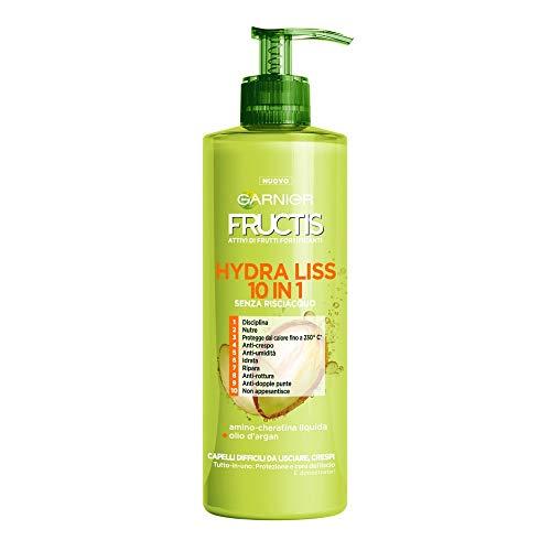 Fructis Style Hydra Liss 10 en 1 Tratamiento sin enjuague para el cabello difíciles de enderezar y encrespar - 3 paquetes de 400 ml