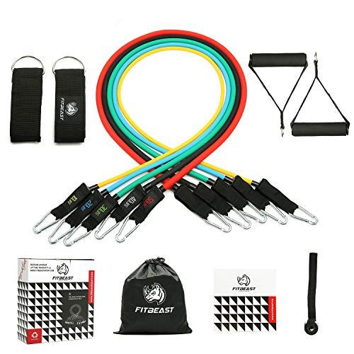 Conjunto de bandas de resistencia al ejercicio, bandas de ejercicio de 11 PC con tubos de fitness, asas de espuma, empuñaduras, cierres de tobillo, anclaje para ...