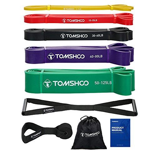 TOMSHOO Bandas de fitness, banda elástica, bandas de resistencia Set de 5 con anclaje de puerta y 2 asas para la recuperación de la fuerza de la danza Crossfit Strong Gymnastics ...
