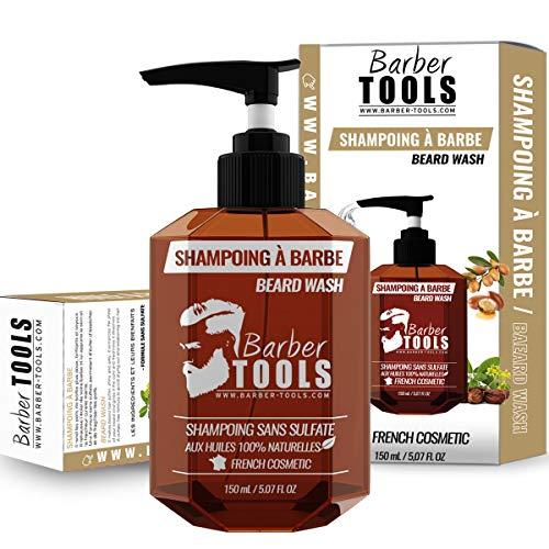 Champú para barba sin sulfatos para barba - 150 ml a base de aceite de argán y aceite de jojoba |  Para el mantenimiento y cuidado de la barba - MADE IN FRANCE ✮ BARBER ...