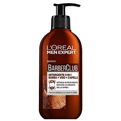 Limpiador 3 en 1 L'ORÉAL Paris Men Barber Club para barba, cara y cabello, sin jabón, limpieza profunda, 200 ml