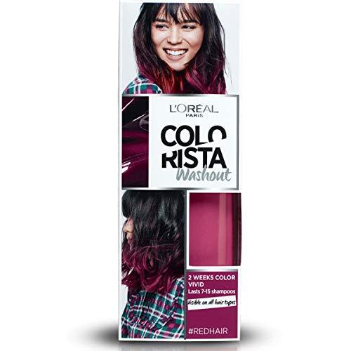 Color de pelo temporal L'Oréal Paris Colorista Washout Vivid para cabellos castaños, rojo (rojo)