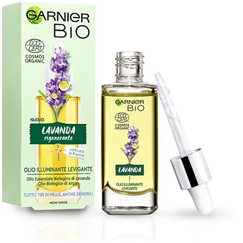 Garnier Bio, aceite facial suavizante iluminando, aceite esencial de lavanda orgánica y aceite de argán orgánico, apto para todos los tipos de piel, incluso sensible, 30 ml