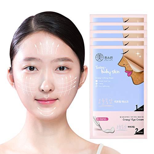 Crazy Skin Korea: hoja de máscara elevadora de la piel del bebé hoy con crema de ojos (5 hojas), máscara de lavado