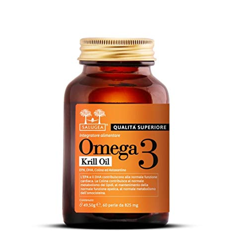 OMEGA 3 0072 KRILL OIL Salugea - 100% natural a partir de aceite puro de krill antártico con colina y astaxantina - EPA y DHA altamente asimilables - 60 perlas ...