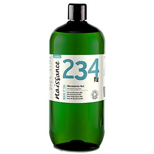 Aceite orgánico de macadamia Naissance - 100% aceite vegetal puro - 1L