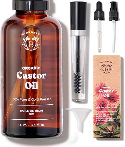 ACEITE DE CASTOR ORGÁNICO |  100% puro, natural y prensado en frío |  Pestañas, cejas, cuerpo, cabello, barba, uñas |  Aceite de ricino vegano |  Botella de vidrio + ...