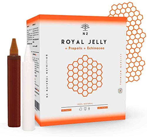 Própolis de jalea real, equinácea y vitamina C 2000 mg.  Aumenta la vitalidad, fortalece las defensas, reduce los síntomas de molestias y fatiga 30 botellas Sabor naranja N2 ...
