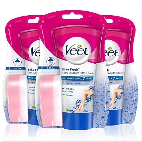 Veet Silk & Fresh Technology Crema depilatoria a la ducha para pieles sensibles, 3 paquetes de 150 ml