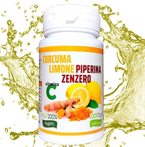 Cúrcuma y Piperiana Plus jengibre limón vitamina C- 130 cpr-Antioxidante Dosis natural de extracto de curcumina Potente y rápido Crema de grasas-Antiinflamatorio