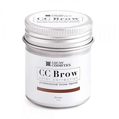 Lucas Cosmetics - Henna CC Brow, henna marrón para cejas, producto profesional, 5 g