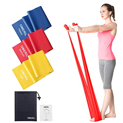 Bandas elásticas OMERIL Fitness (3 piezas), bandas elásticas de 2 m / 1,5 m con 3 niveles de resistencia, ejercicios de bandas elásticas ideales para yoga, pilates, ...