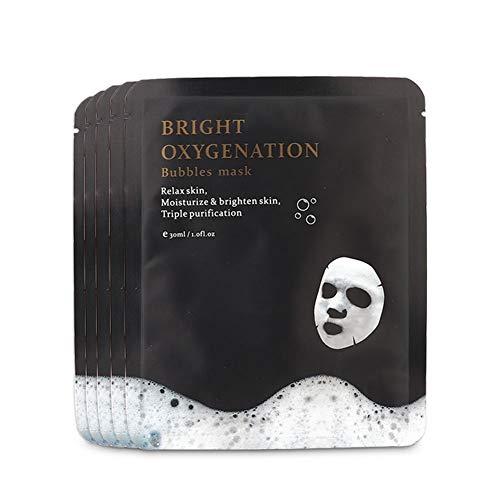 Máscara facial, 5 unidades X 30 ml Máscara de burbujas de oxígeno Máscara de limpieza profunda Máscara de limpieza de burbujas anti-envejecimiento Reducción de poros ...