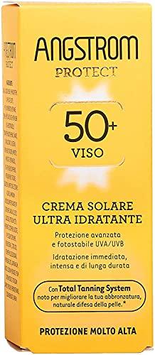 Crema solar facial Angstrom Protect, Protección facial 50+ con acción ultra hidratante, nutritiva y de larga duración, adecuada para pieles sensibles, 50 ml
