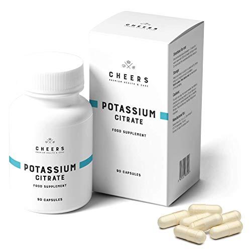 Comprimidos de citrato de potasio (333 mg) - Absorción más alta en suplemento de potasio - Citrato de potasio puro 90 cápsulas veganas - Salud