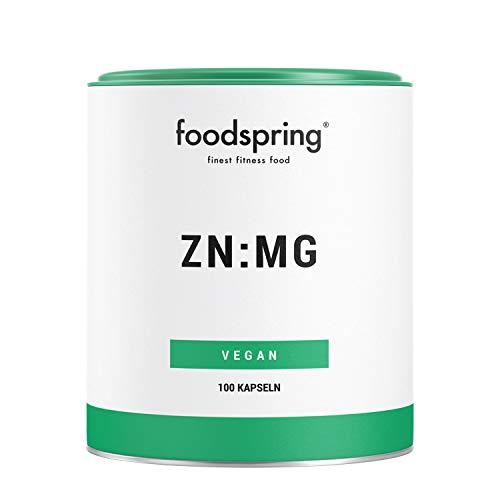 foodpring ZN: MG, 100 cápsulas, suplemento de zinc y magnesio vegano para mejorar el rendimiento
