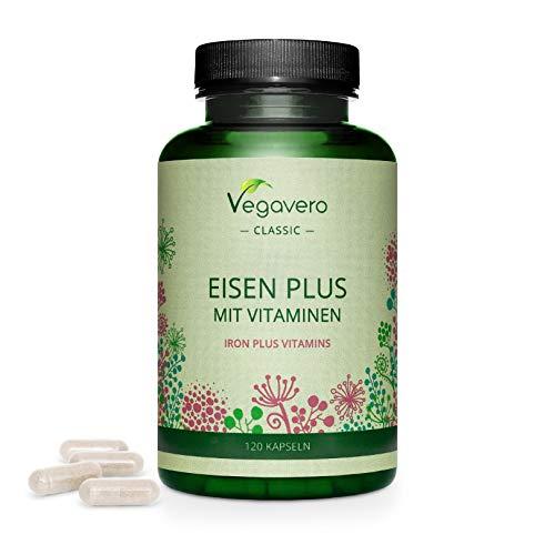Suplemento de hierro Vegavero® |  120 cápsulas |  EL ÚNICO SIN ADITIVOS |  Anemia, menstruación y fatiga Vegano